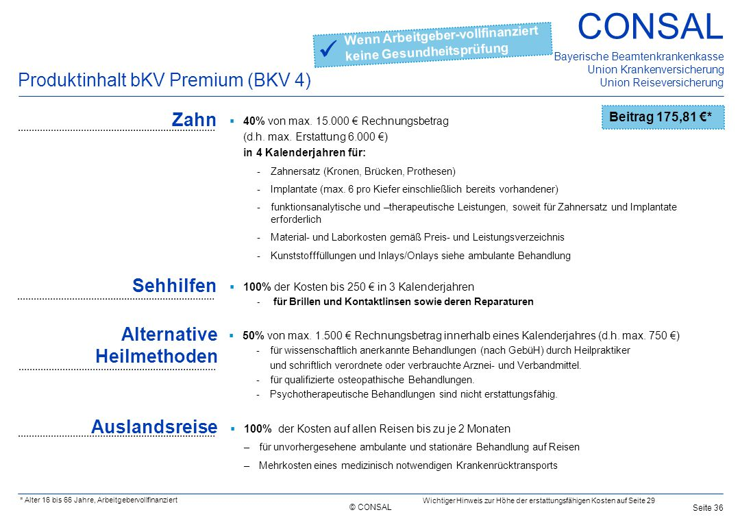  Produktinhalt bKV Premium (BKV 4) Zahn Sehhilfen
