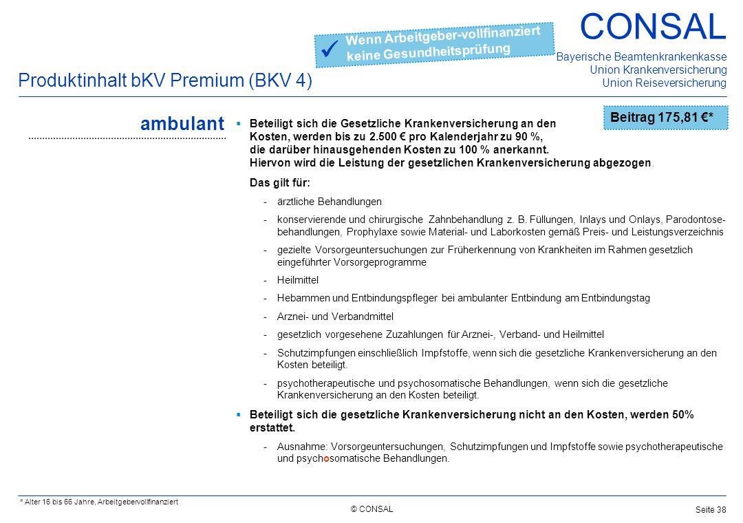  Produktinhalt bKV Premium (BKV 4) ambulant