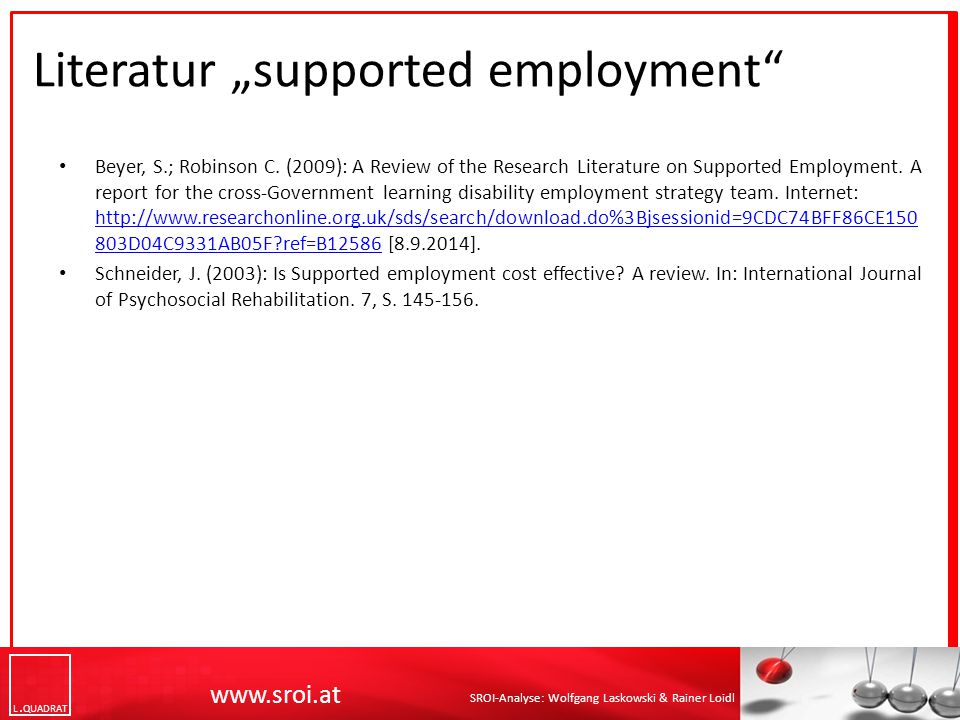 "Literatur ""supported employment"