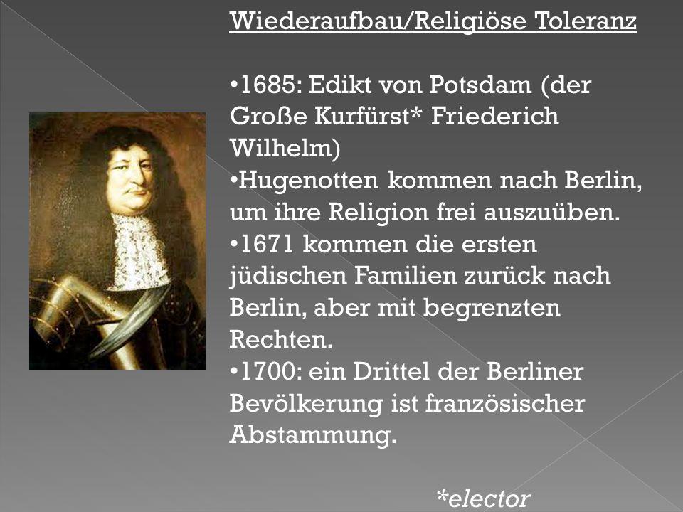 Wiederaufbau/Religiöse Toleranz