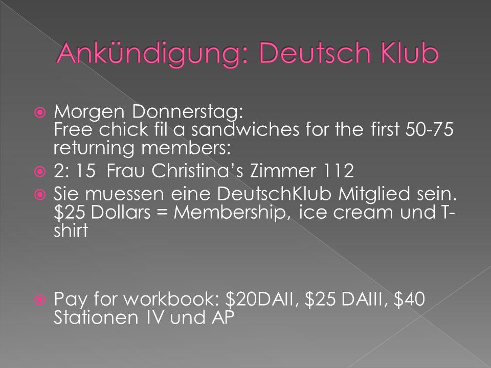 Ankündigung: Deutsch Klub