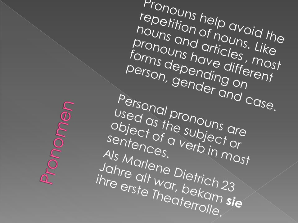 Pronouns help avoid the repetition of nouns