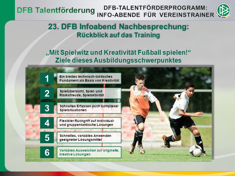 1 2 3 4 5 6 DFB Talentförderung 23. DFB Infoabend Nachbesprechung: