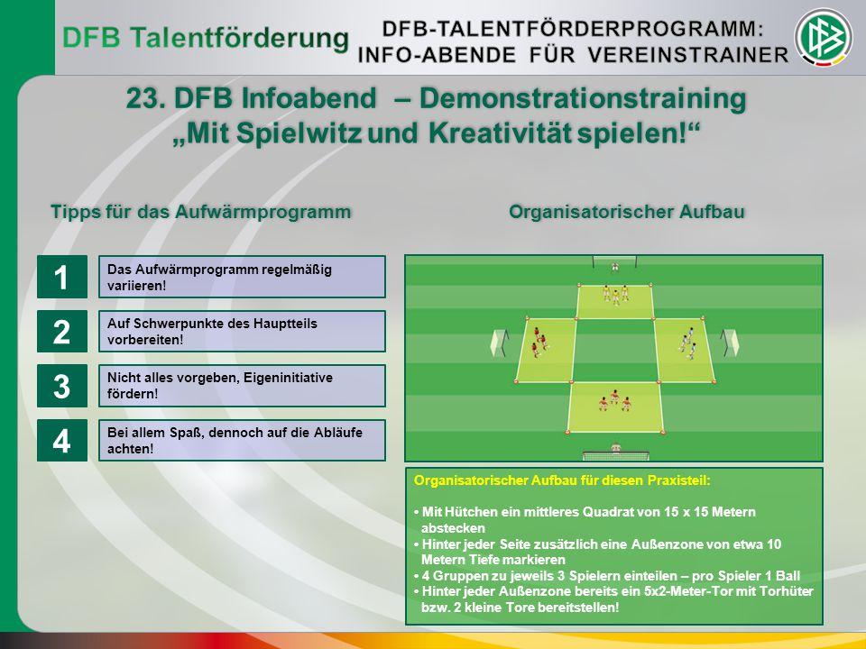 1 2 3 4 DFB Talentförderung 23. DFB Infoabend – Demonstrationstraining
