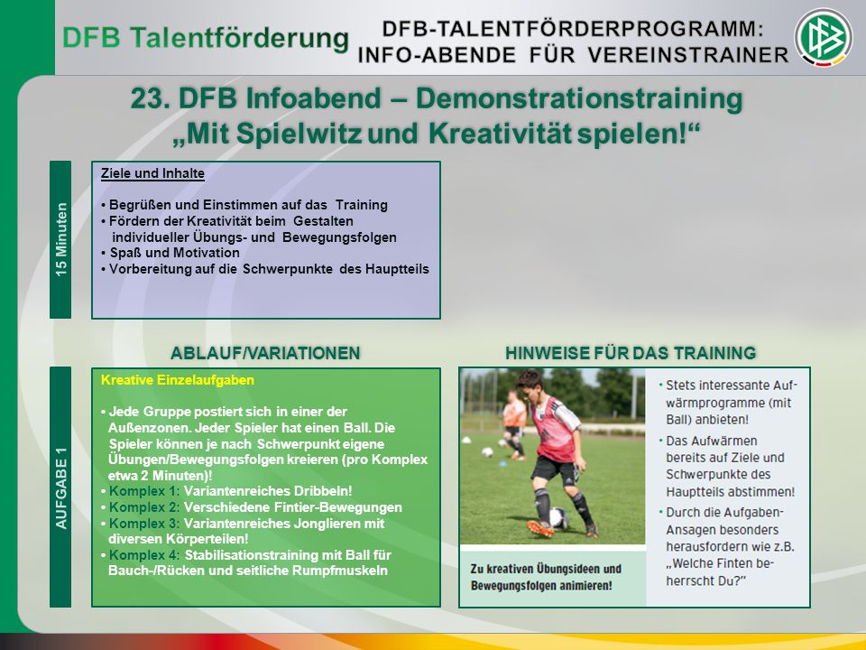 23. DFB Infoabend – Demonstrationstraining