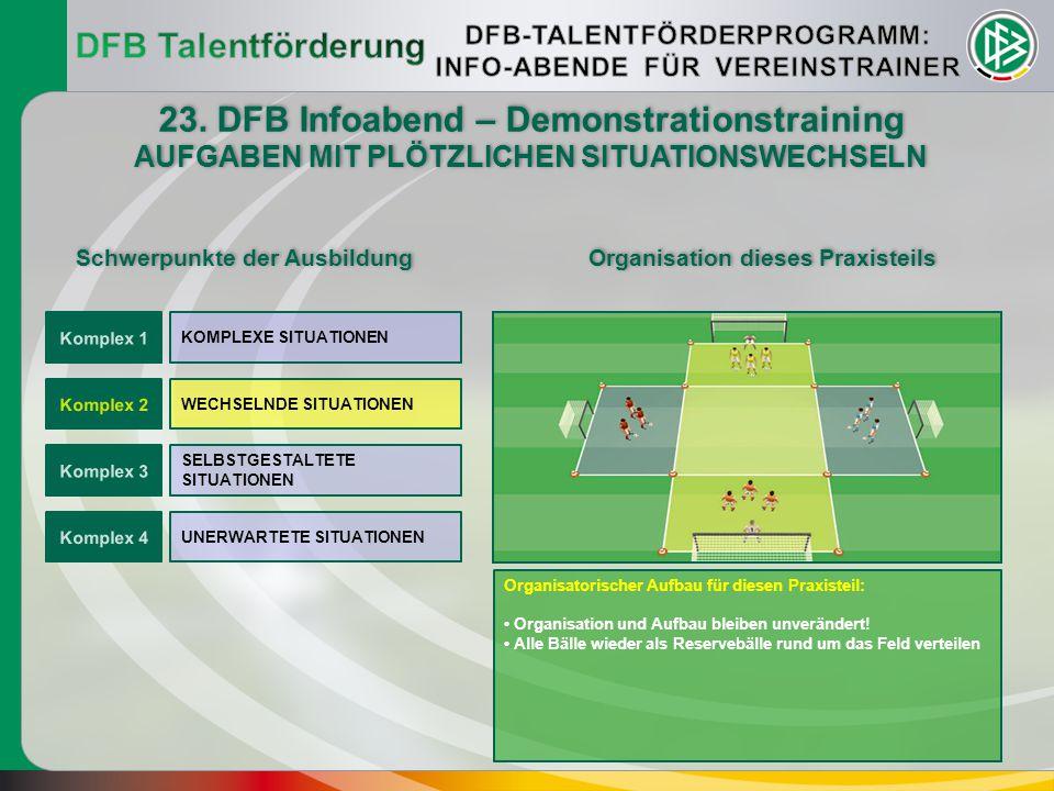 DFB Talentförderung 23. DFB Infoabend – Demonstrationstraining