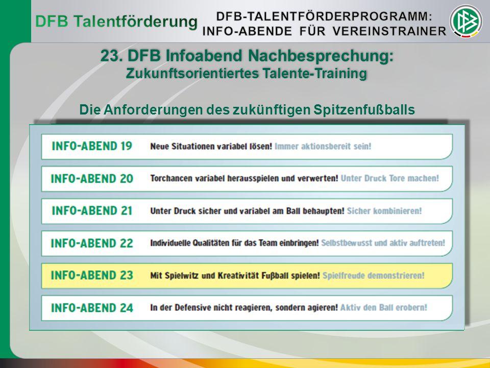 DFB Talentförderung 23. DFB Infoabend Nachbesprechung: