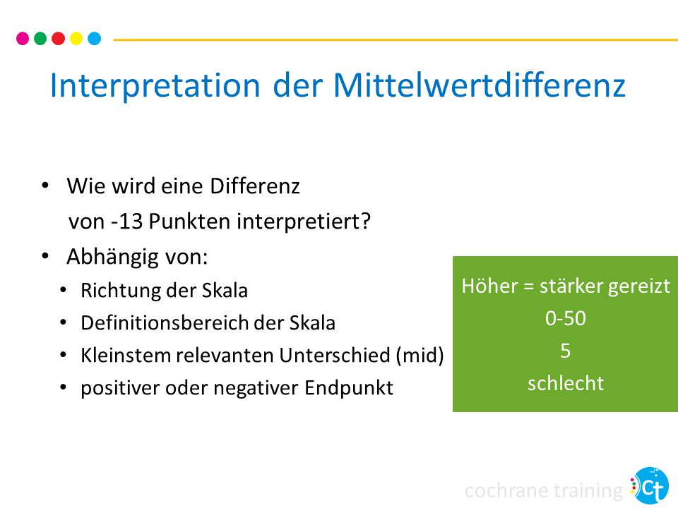 Interpretation der Mittelwertdifferenz