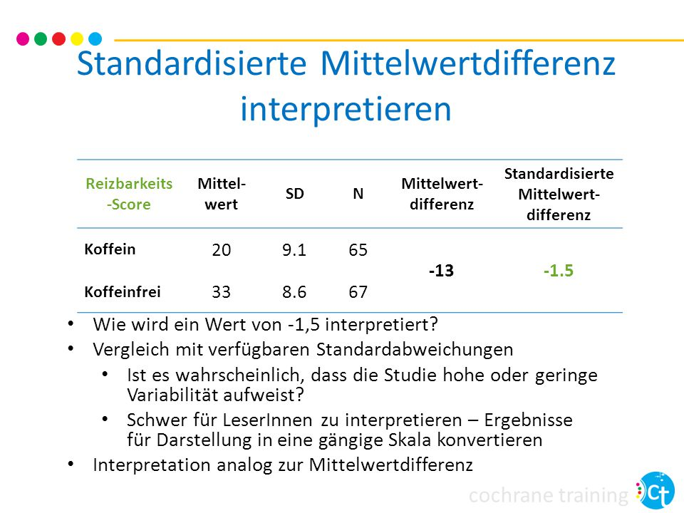 Standardisierte Mittelwertdifferenz interpretieren