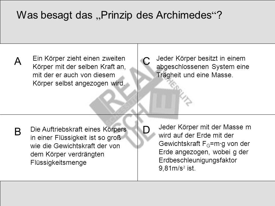 """Was besagt das """"Prinzip des Archimedes"""
