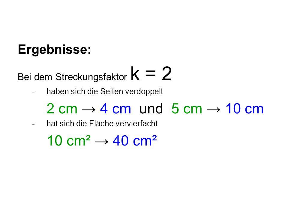 2 cm → 4 cm und 5 cm → 10 cm 10 cm² → 40 cm² Ergebnisse: