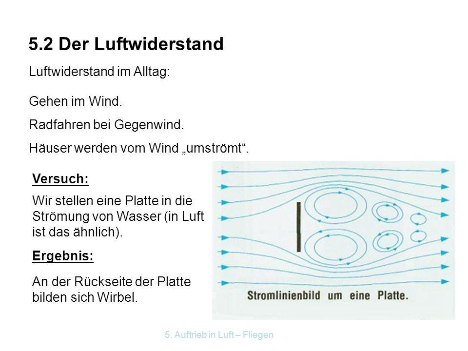 5.2 Der Luftwiderstand Luftwiderstand im Alltag: Gehen im Wind.