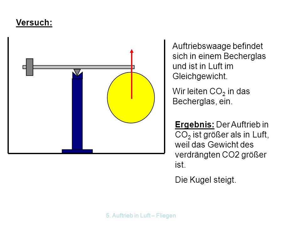 Wir leiten CO2 in das Becherglas, ein.