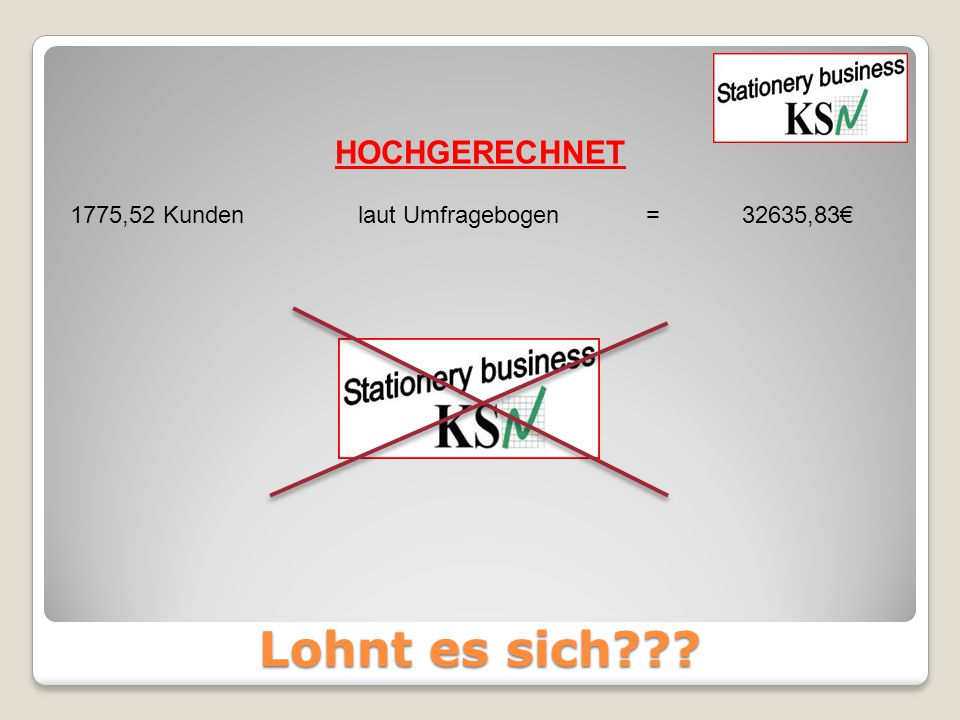 1775,52 Kunden laut Umfragebogen = 32635,83€