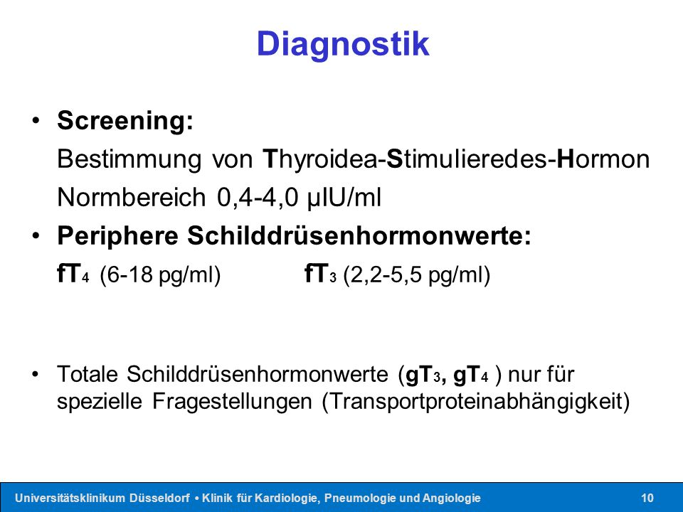 Diagnostik Screening: Bestimmung von Thyroidea-Stimulieredes-Hormon