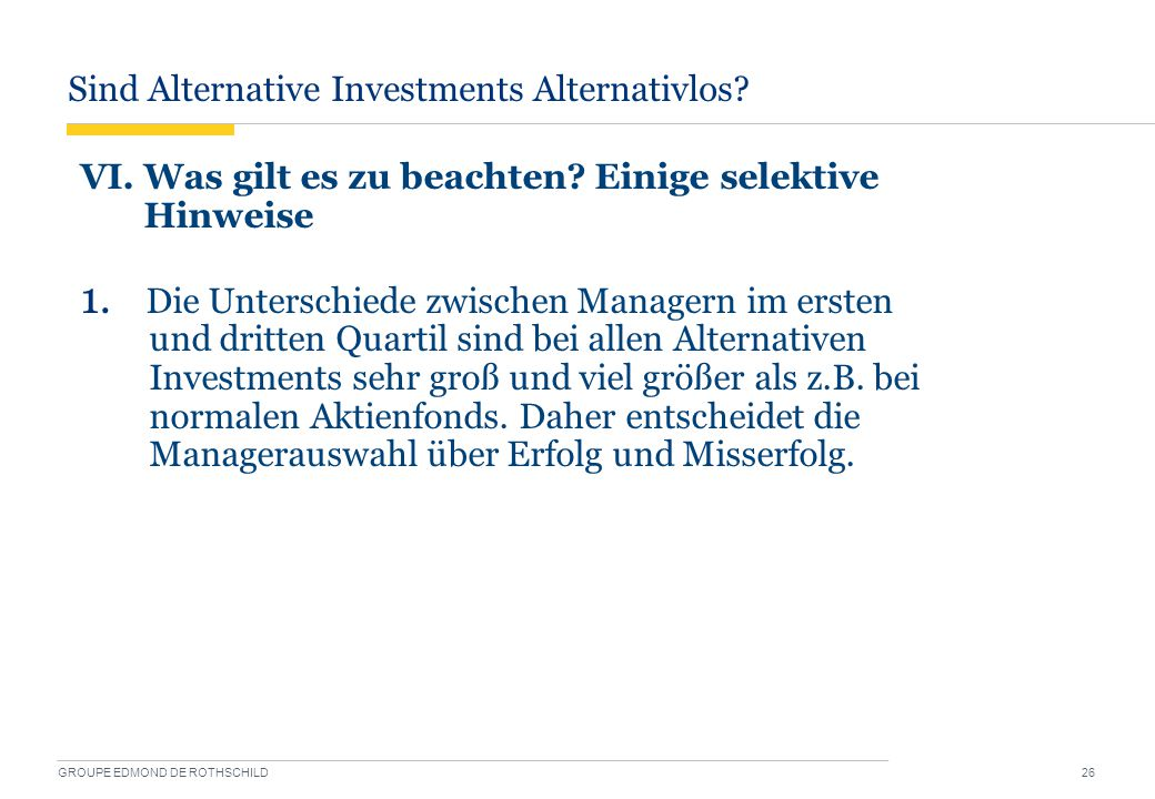 Sind Alternative Investments Alternativlos
