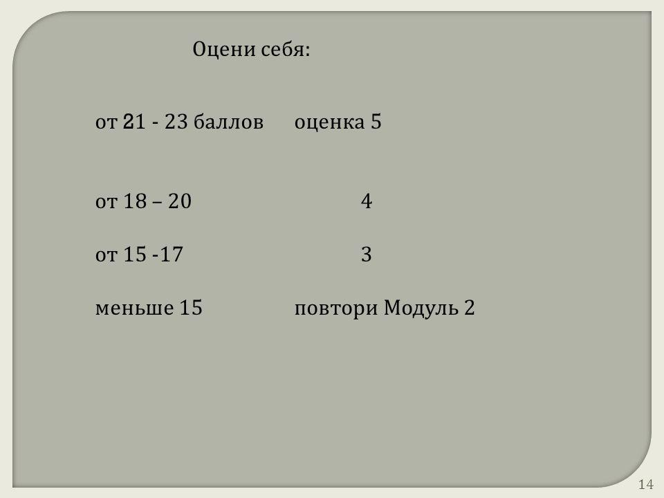 Оцени себя: от 21 - 23 баллов оценка 5 от 18 – 20 4 от 15 -17 3 меньше 15 повтори Модуль 2