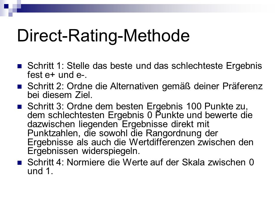 Direct-Rating-Methode