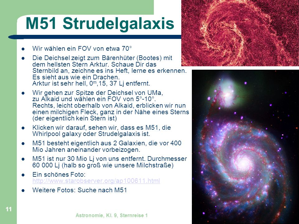 M51 Strudelgalaxis Wir wählen ein FOV von etwa 70°