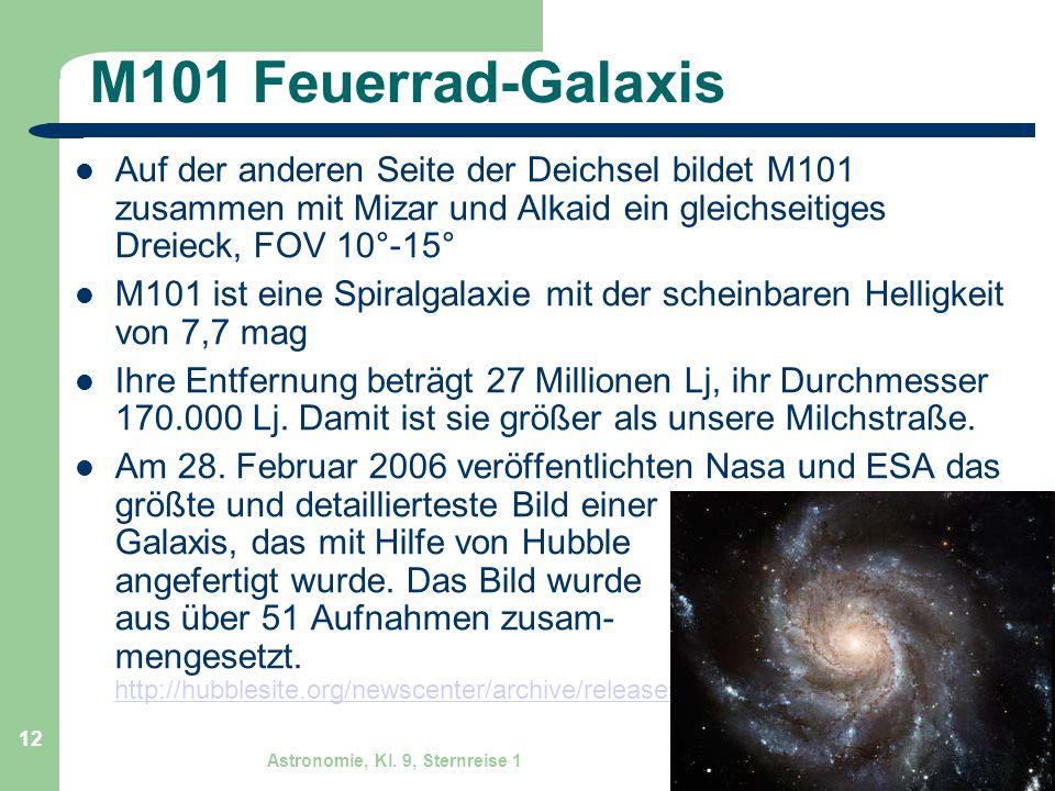 M101 Feuerrad-Galaxis Auf der anderen Seite der Deichsel bildet M101 zusammen mit Mizar und Alkaid ein gleichseitiges Dreieck, FOV 10°-15°