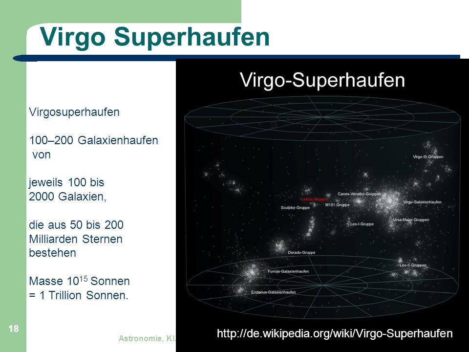 Virgo Superhaufen Virgosuperhaufen 100–200 Galaxienhaufen von