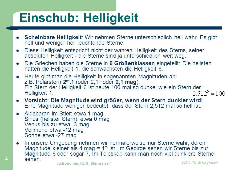 Einschub: Helligkeit Scheinbare Helligkeit: Wir nehmen Sterne unterschiedlich hell wahr. Es gibt hell und weniger hell leuchtende Sterne.