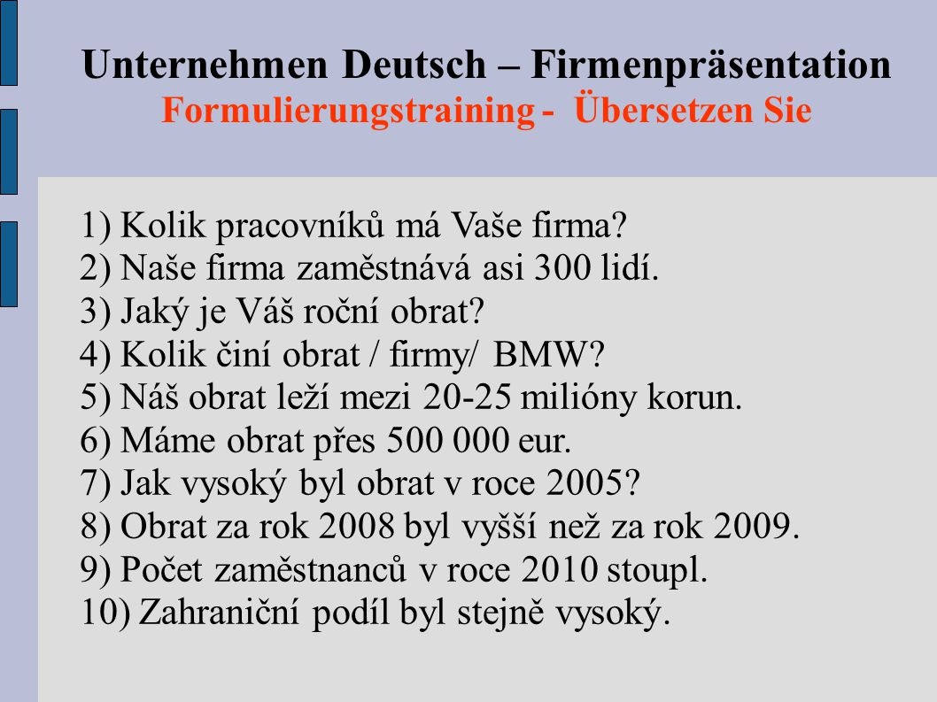 Unternehmen Deutsch – Firmenpräsentation