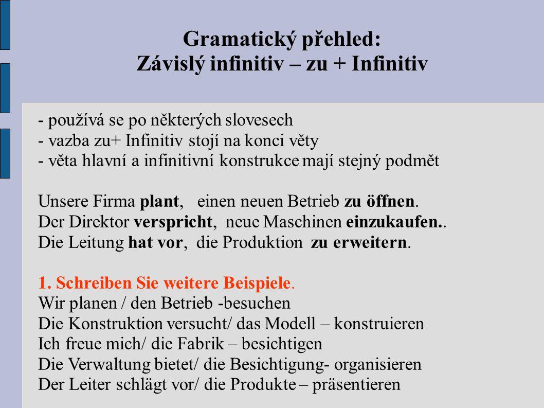 Závislý infinitiv – zu + Infinitiv