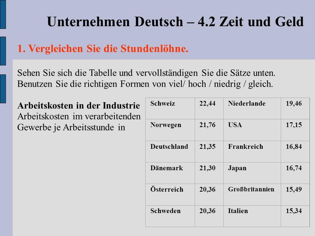 Unternehmen Deutsch – 4.2 Zeit und Geld
