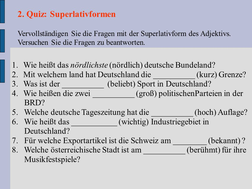 2. Quiz: Superlativformen