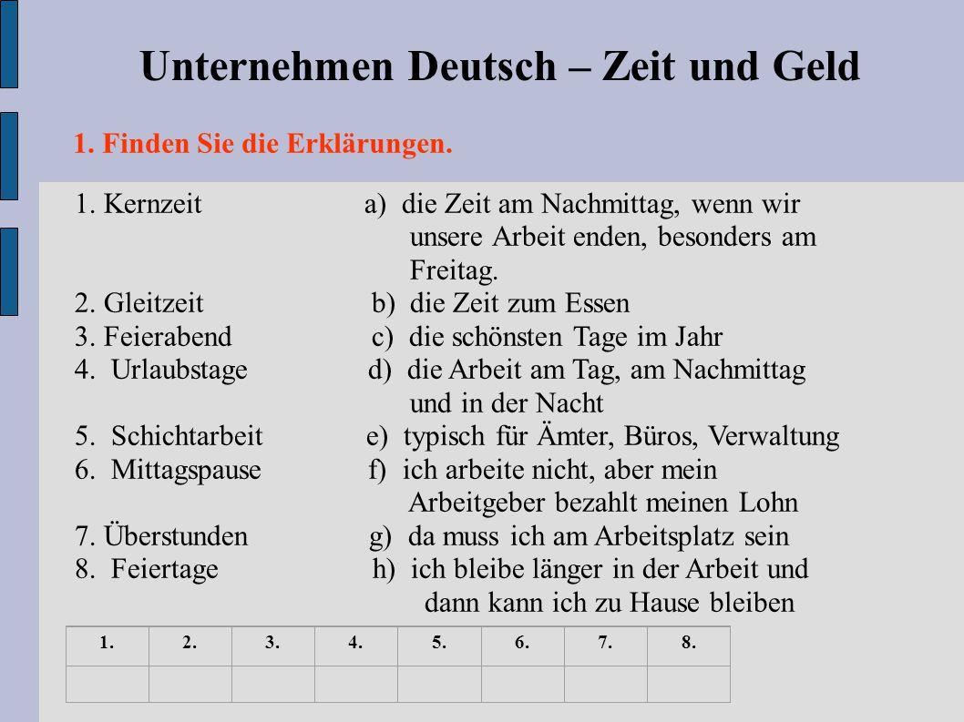 Unternehmen Deutsch – Zeit und Geld