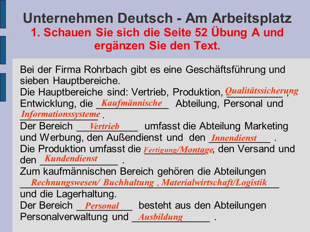 Unternehmen Deutsch - Am Arbeitsplatz 1
