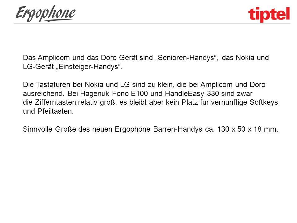 """Das Amplicom und das Doro Gerät sind """"Senioren-Handys , das Nokia und LG-Gerät """"Einsteiger-Handys ."""