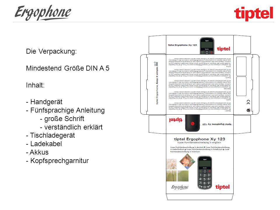 Die Verpackung: Mindestend Größe DIN A 5. Inhalt: Handgerät. Fünfsprachige Anleitung. große Schrift.