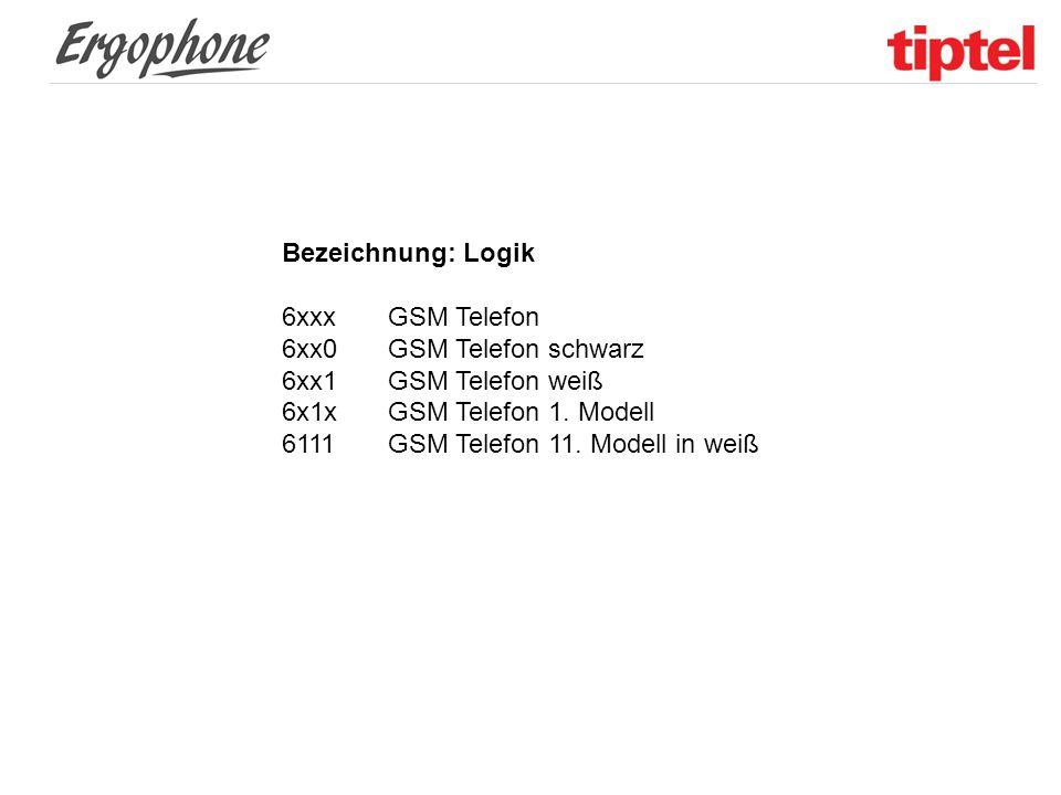 Bezeichnung: Logik 6xxx GSM Telefon. 6xx0 GSM Telefon schwarz. 6xx1 GSM Telefon weiß. 6x1x GSM Telefon 1. Modell.