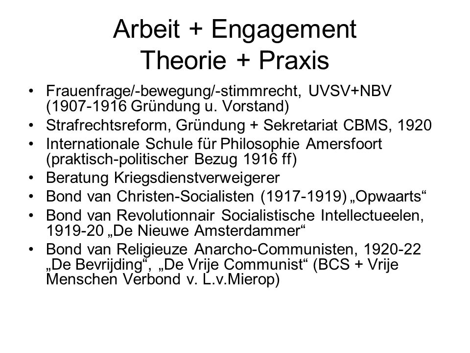 Arbeit + Engagement Theorie + Praxis