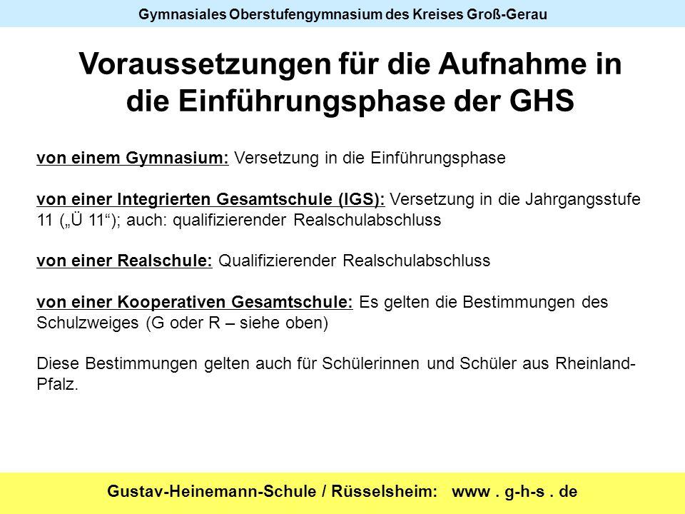 Voraussetzungen für die Aufnahme in die Einführungsphase der GHS