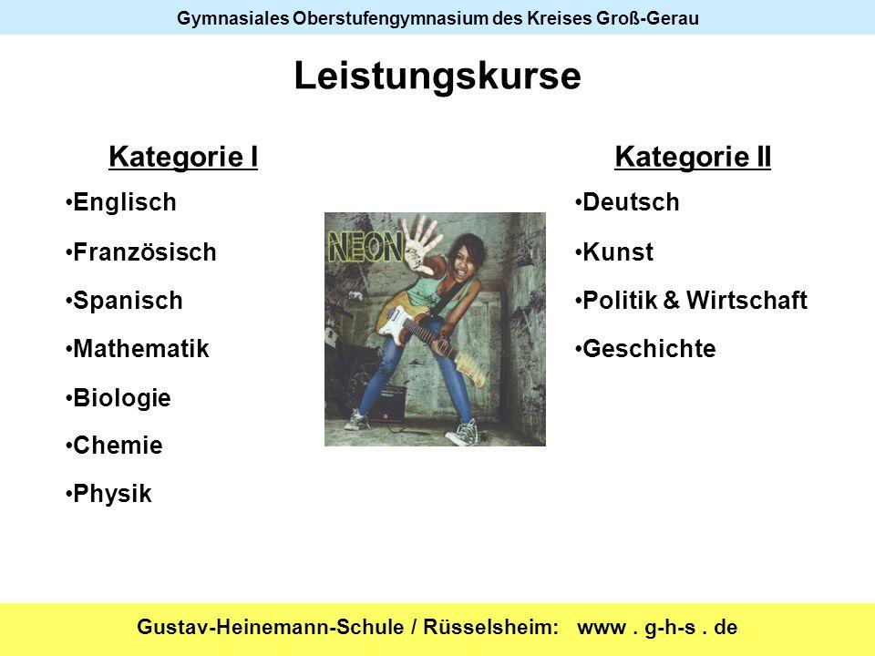 Leistungskurse Kategorie I Kategorie II Englisch Deutsch Französisch