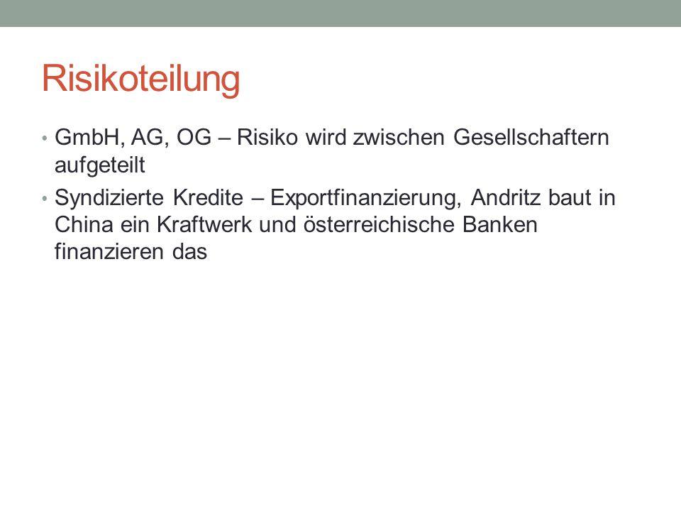 Risikoteilung GmbH, AG, OG – Risiko wird zwischen Gesellschaftern aufgeteilt.