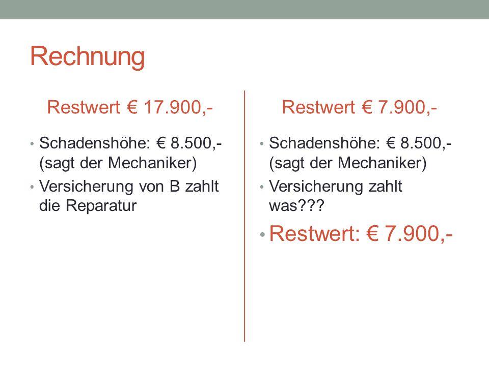 Rechnung Restwert: € 7.900,- Restwert € 17.900,- Restwert € 7.900,-
