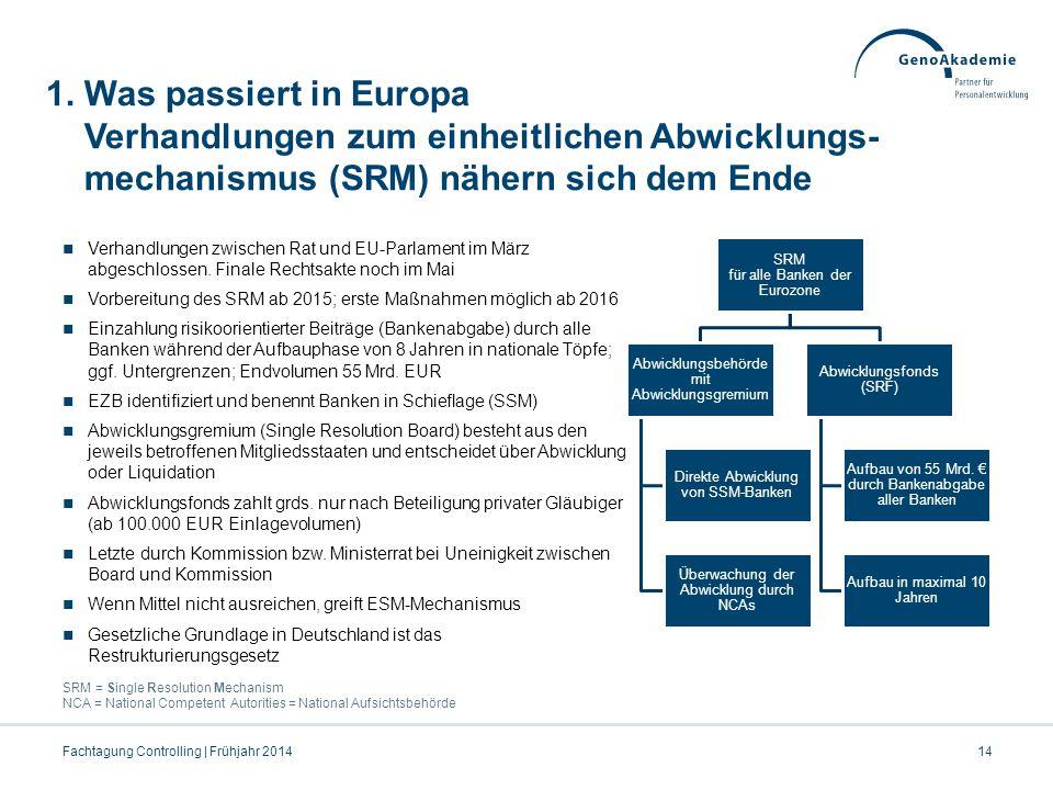 1. Was passiert in Europa Verhandlungen zum einheitlichen Abwicklungs- mechanismus (SRM) nähern sich dem Ende