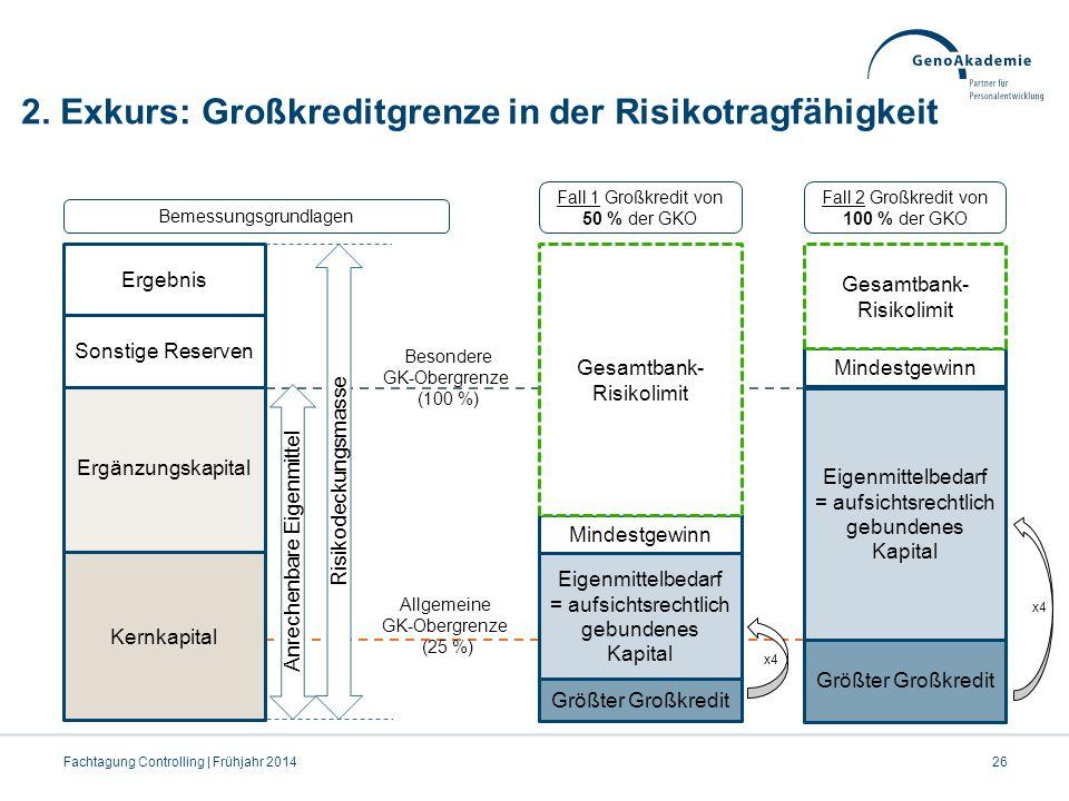 2. Exkurs: Großkreditgrenze in der Risikotragfähigkeit