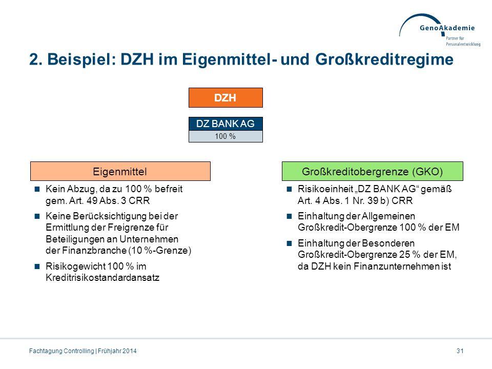 2. Beispiel: DZH im Eigenmittel- und Großkreditregime