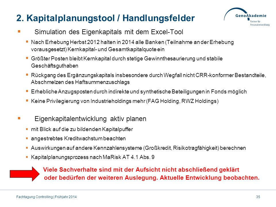 2. Kapitalplanungstool / Handlungsfelder