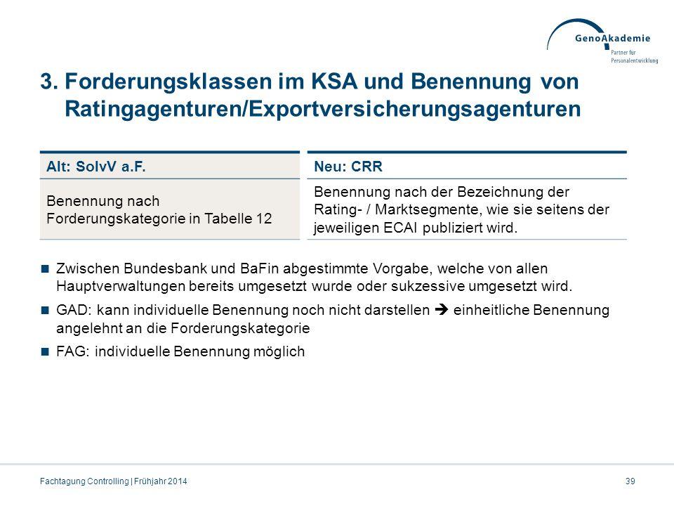 3. Forderungsklassen im KSA und Benennung von Ratingagenturen/Exportversicherungsagenturen