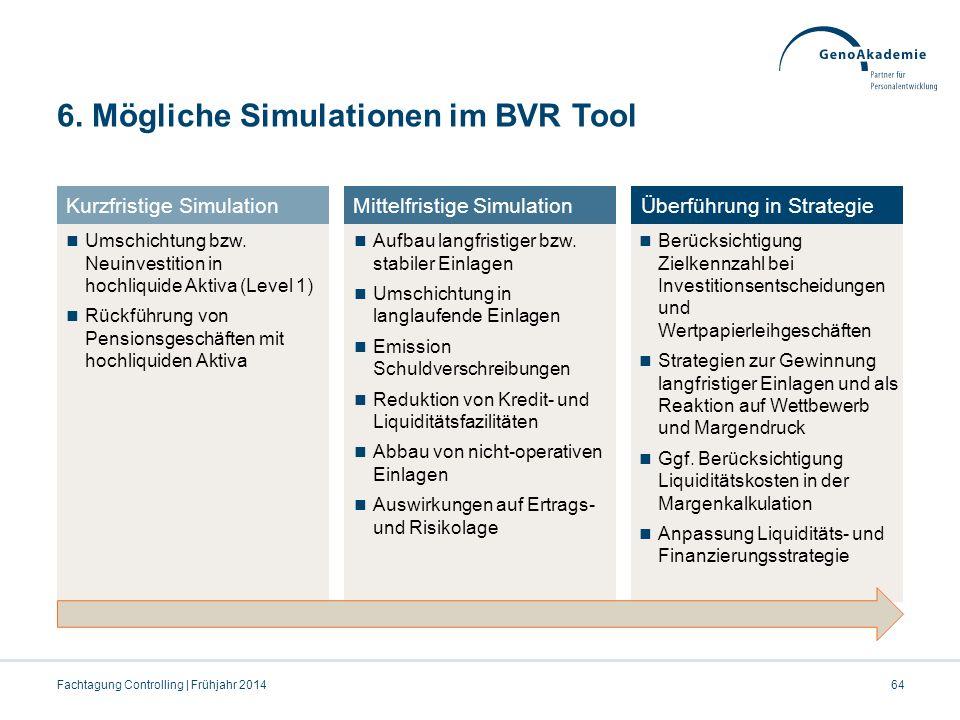 6. Mögliche Simulationen im BVR Tool