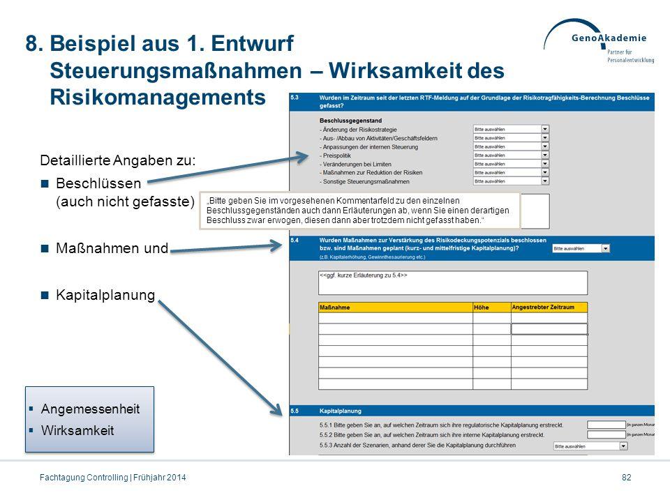 8. Beispiel aus 1. Entwurf Steuerungsmaßnahmen – Wirksamkeit des Risikomanagements