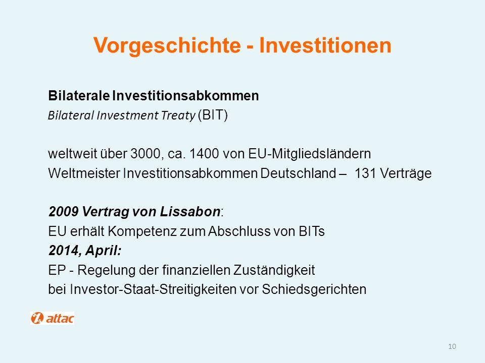 Vorgeschichte - Investitionen