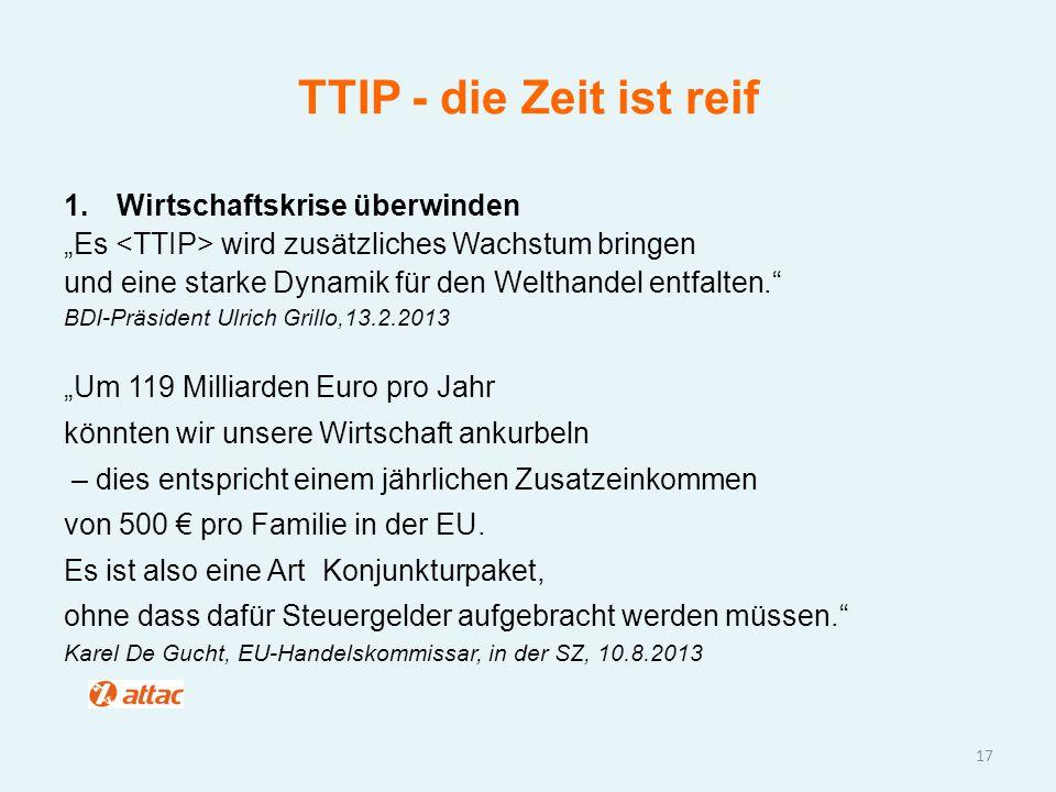 TTIP - die Zeit ist reif Wirtschaftskrise überwinden