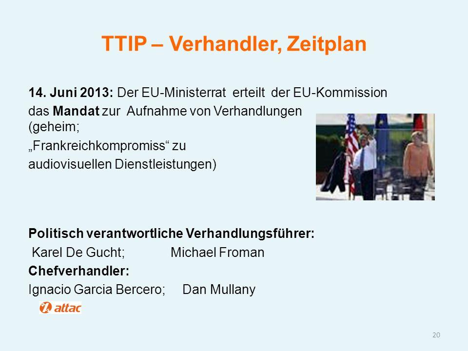 TTIP – Verhandler, Zeitplan